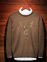 Недорогие -Муж. С принтом На каждый день Пуловер, Повседневные Длинный рукав Круглый вырез Полиэстер Зима
