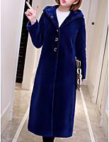 economico -Cappotto di pelliccia Da donna Per uscire Moda città Inverno Autunno,Tinta unita Con cappuccio Poliestere Lungo Maniche lunghe