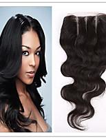Недорогие -бразильский необработанный человеческий волос три части тела волна закрытие кружева отбеленные узлы с детскими волосами