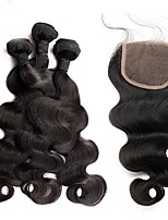 cheap -Brazilian Hair Body Wave Human Hair Weaves 4pcs Hair Weft with Closure