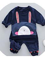 preiswerte -Unisex Kleidungs Set Cartoon Design Baumwolle Frühling Langarm Rosa Marineblau