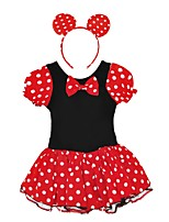 cheap -Girl's Daily Polka Dot Dress,Cotton Spring, Fall, Winter, Summer Short Sleeves Cute Princess Red
