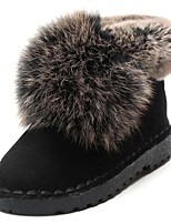 cheap -Women's Shoes Fleece Winter Fall Comfort Boots Flat Heel Round Toe for Outdoor Dark Brown Gray Black