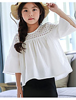 cheap -Girls' Solid Tee,Polyester Spring Summer ¾ Sleeve White