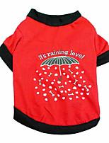 economico -Cane T-shirt Gilè Abbigliamento per cani Comodo Casuale / sportivo stile sveglio Cuori Lettere & Numeri Osso Nero Fucsia Costume Per