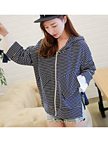cheap -Women's Daily Casual Fall T-shirt,Striped Hooded Long Sleeve Cotton Medium