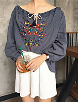 cheap -Women's Casual/Daily Street chic Shirt,Embroidery Round Neck 3/4 Length Sleeve Cotton