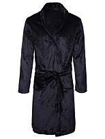 abordables -Satin & Soie Pyjamas Homme,Couleur Pleine Epais Coton Noir Marine Kaki Gris Clair