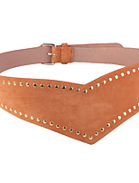 cheap -Women's Leather Wide Belt,Black Camel Gray Vintage Casual