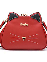 cheap -Women Bags PU Polyester Shoulder Bag Buttons for Casual All Season Red Black