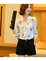 cheap -Women's Daily Vintage Spring Blouse,Solid Shirt Collar Short Sleeve Wool Cotton Linen Acrylic Polyester