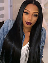 cheap -Women Synthetic Lace Front Wig Middle Part Long Straight Black Hair Wig