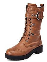 Недорогие -Для женщин Обувь Полиуретан Зима Осень Удобная обувь Модная обувь Ботинки На толстом каблуке Сапоги до середины икры для Повседневные