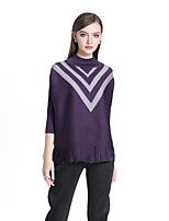 cheap -8CFAMILY Women's Daily Casual Boho Spring Summer T-shirt,Color Block Turtleneck ½ Length Sleeve Polyester Thin