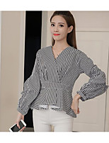cheap -Women's Others Street chic Shirt,Striped V Neck Long Sleeves Polyester