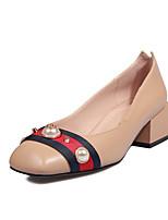 preiswerte -Schuhe PU Frühling Herbst Komfort High Heels Blockabsatz Quadratischer Zeh Imitationsperle für Normal Schwarz Rot Mandelfarben