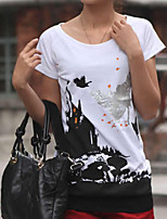 cheap -Women's Daily Casual Summer T-shirt,Print Round Neck Short Sleeve Cotton