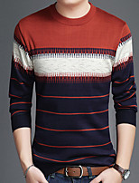 cheap -Men's Daily Casual Regular Pullover,Print Round Neck Long Sleeves Polyester Winter Fall Opaque Micro-elastic