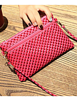 cheap -Women's Bags PU Shoulder Bag Zipper for Casual Spring Fall Blue Black Orange Fuchsia