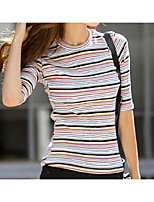 cheap -Women's Daily Casual Summer T-shirt,Striped Round Neck ½ Length Sleeve Cotton