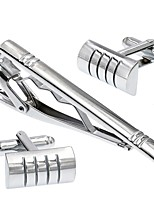 cheap -Geometric Silver Cufflink Set Stainless Steel Simple Party Gift Men's Costume Jewelry
