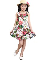 cheap -Girl's Party Daily School Holiday Going out Floral Print Jacquard Dress,Cotton All Season Sleeveless Simple Vintage Cute White
