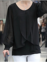 cheap -Women's Daily Casual Spring Summer Blouse,Solid Round Neck Long Sleeve Polyester