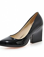 preiswerte -Damen Schuhe Kunstleder Frühling Herbst Komfort Neuheit High Heels Blockabsatz Spitze Zehe für Normal Kleid Weiß Schwarz Gelb Rot