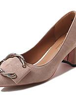 cheap -Women's Shoes Rubber Spring Fall Comfort Heels Low Heel for Outdoor Black Beige Light Brown