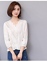 cheap -Women's Casual/Daily Cute Autumn/Fall T-shirt,Solid V Neck Long Sleeves Cotton Medium