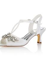 economico -Da donna Scarpe Raso elasticizzato Estate Decolleté scarpe da sposa Basso Punta aperta Cristalli Fibbia per Matrimonio Serata e festa