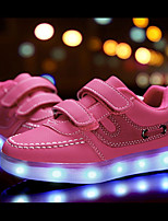 cheap -Girls' Shoes Nubuck leather Customized Materials Leatherette Winter Spring Light Up Shoes Comfort Sneakers Magic Tape LED for Casual