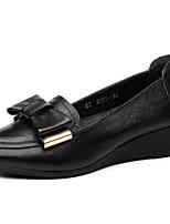baratos -Mulheres Sapatos Couro Ecológico Outono Conforto Rasos Salto Plataforma Dedo Fechado para Casual Ao ar livre Preto Vermelho