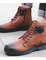 cheap -Men's Shoes Synthetic Microfiber PU Spring Fall Combat Boots Comfort Boots Mid-Calf Boots for Casual Black Gray Brown