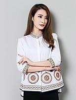 Недорогие -Для женщин На каждый день Рубашка Воротник-стойка,Уличный стиль Вышивка Хлопок