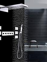 Недорогие -Современный На стену Водопад Дождевая лейка Ручная лейка входит в комплект Термостатический Керамический клапан Пять Рукоятки девять лунок