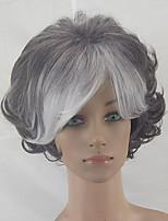 Недорогие -hairjoy Парики из искусственных волос Короткий Кудрявый Серый Волосы с окрашиванием омбре Стрижка каскад Парик из натуральных волос