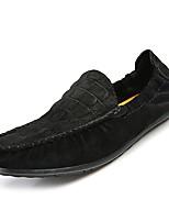 Недорогие -обувь Кожа Весна Осень Мокасины Удобная обувь Мокасины и Свитер для Повседневные Черный Серый Зеленый Хаки