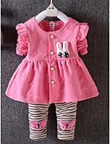 preiswerte -Baby Mädchen Kleidungs Set Alltag Druck Baumwolle Frühling Langärmelige Einfach Fuchsia
