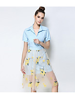 cheap -Women's Daily Casual Fall Shirt Skirt Suits,Print Stand Half Sleeve Polyester
