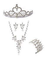 preiswerte -Damen Tiara Braut-Schmuck-Sets Strass Europäisch Modisch Hochzeit Party Diamantimitate Aleación Schmetterling Körperschmuck 1 Halskette 1