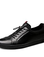 cheap -Men's Shoes Real Leather Cowhide Nappa Leather Spring Fall Comfort Sneakers for Casual Office & Career Black