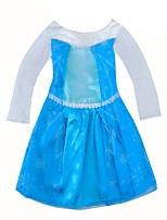 cheap -Girl's Daily Solid Dress,Polyester Spring, Fall, Winter, Summer Long Sleeves Princess Blue
