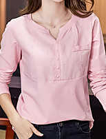 cheap -Women's Daily Casual Fall T-shirt,Solid V Neck Long Sleeve Cotton Thin