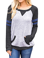 cheap -Women's Daily Holiday Simple Winter T-shirt,Color Block Round Neck Long Sleeve Polyester Spandex