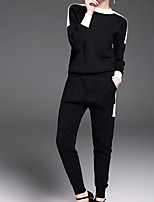 cheap -Women's Going out Casual/Daily Simple Fall Set Pant Suits,Solid Round Neck Long Sleeves Cotton