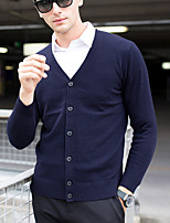 cheap -Men's Cardigan - Solid Colored V Neck