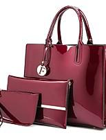 preiswerte -Damen Taschen PU Polyester Bag Set 3 Stück Geldbörse Set Reißverschluss für Normal Alle Jahreszeiten Blau Schwarz Rote Purpur
