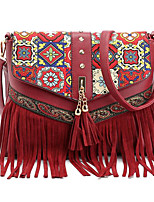 cheap -Women Bags PU Polyester Shoulder Bag Pattern / Print Zipper Tassel for Casual All Season Brown Red White Blue