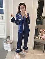 abordables -Costumes Pyjamas Femme Moyen Rayonne Bleu Blanc Rose Claire